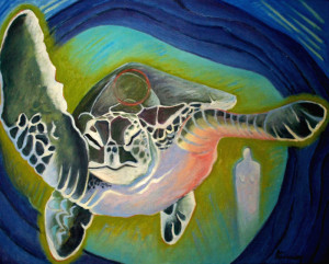 """Turtle Swims North"" - from Scarlet's ""Shamanic Stories"" series - Available as a giclee print through the site's Store"
