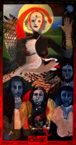 Oil on Linen Shamanic Portrait Size: 44 x 80""
