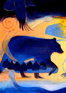 """Black Bear: Crop from the painting """"Where the Women Go to Heal""""Oil on Linen: 30 x 40"""" - $4800. Available through Turtle Mountain Mythic Art>br/>To see entire painting visit www.scarletkinney.com"""